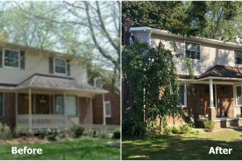 Colonial Porch Facelift in Royal Oak Before and After